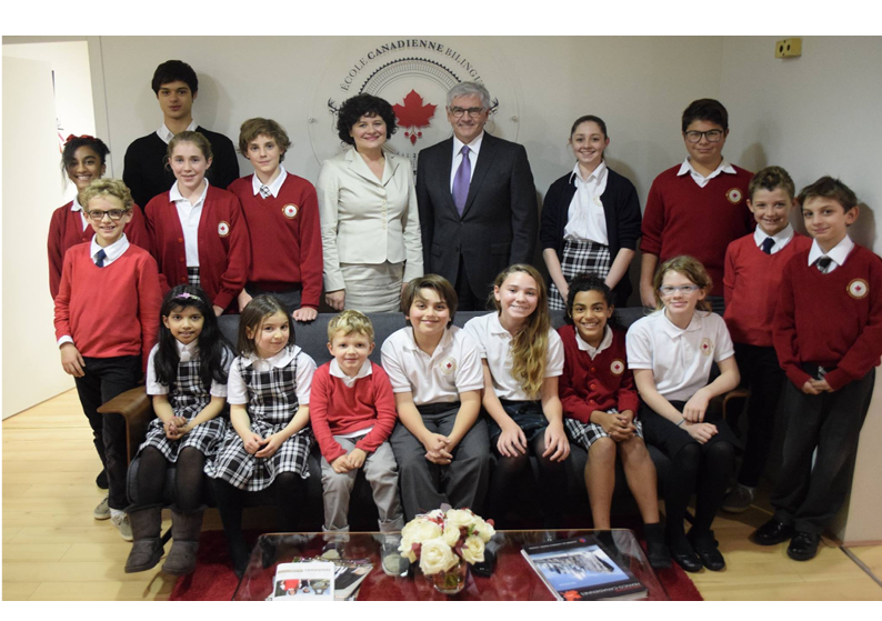 Founding cohort, the students of the Canadian Bilingual School of Paris, with the Ambassador of Canada, the Honorable Lawrence Cannon, and the Founder and Director of the school, Dr. Hélène H. Leone. Photograph: Ambassade du Canada | Embassy of Canada